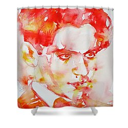 Shower Curtain featuring the painting Federico Garcia Lorca - Watercolor Portrait by Fabrizio Cassetta
