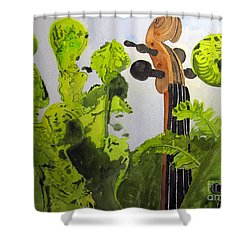 Shower Curtain featuring the painting Fiddleheads by Sandy McIntire