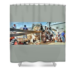 Filling The Sack 3485 Shower Curtain by Jerry Sodorff