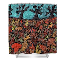 Finding Autumn Leaves Shower Curtain by Wayne Potrafka