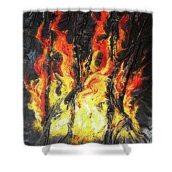 Shower Curtain featuring the mixed media Fire Too by Angela Stout