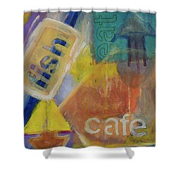 Shower Curtain featuring the painting Fish Cafe by Susan Stone