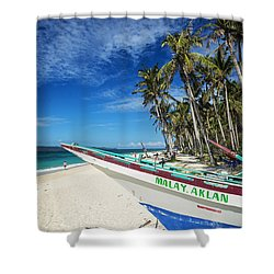 Fishing Boat On Puka Beach Tropical Paradise Boracay Philippines Shower Curtain