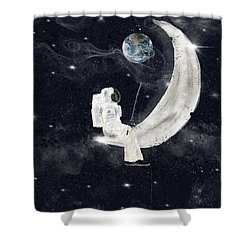 Shower Curtain featuring the painting Fishing For Stars by Bri B