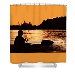 Fishing From A Rock  Shower Curtain by Lyle Crump