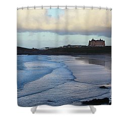 Shower Curtain featuring the photograph Fistral Beach by Nicholas Burningham