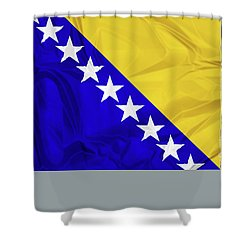Flag Of Bosnia Shower Curtain