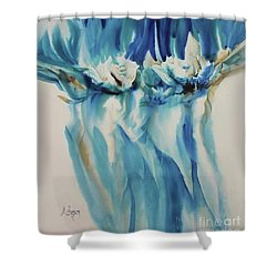 Floating Flowers Shower Curtain by Donna Acheson-Juillet