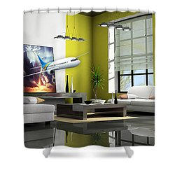 Fly The Friendly Skies Art Shower Curtain by Marvin Blaine