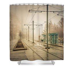 Fog Deserted Street Shower Curtain