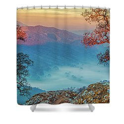 Fog In The Valley Shower Curtain by Marc Crumpler