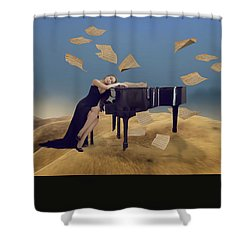 Shower Curtain featuring the mixed media For The Love Of Music by Marvin Blaine
