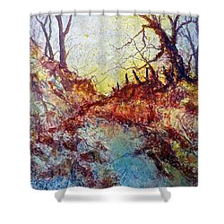 Shower Curtain featuring the painting Forgotten Fence by Carolyn Rosenberger