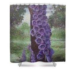 Shower Curtain featuring the painting Foxglove by Randol Burns