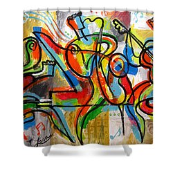 Free Jazz Shower Curtain by Leon Zernitsky