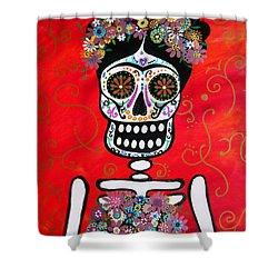 Frida Dia De Los Muertos Shower Curtain by Pristine Cartera Turkus