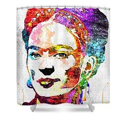Frida Kahlo Grunge Shower Curtain by Daniel Janda