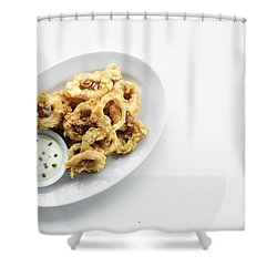 Fried Calamari Squid Rings With Aioli Garlic Sauce Shower Curtain