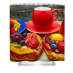 Fruit Desserts And Cup Of Coffee Shower Curtain