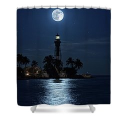 Full Moon Over Hillsboro Lighthouse In Pompano Beach Florida Shower Curtain by Justin Kelefas