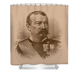 Shower Curtain featuring the drawing General Philip Sheridan by War Is Hell Store