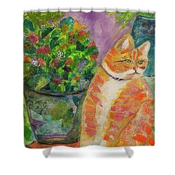 Ginger With Flowers Shower Curtain