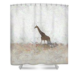 Shower Curtain featuring the digital art Giraffe Abstract by Ernie Echols