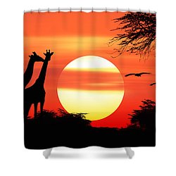 Giraffes At Sunset Shower Curtain