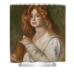 Girl Combing Her Hair Shower Curtain by Pierre Auguste Renoir