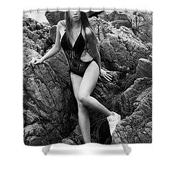 Girl In Black Swimsuit Shower Curtain