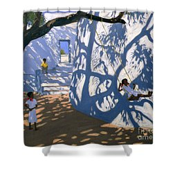 Girl On A Swing India Shower Curtain by Andrew Macara