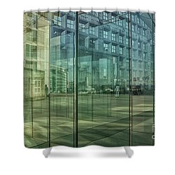Shower Curtain featuring the photograph Glass Panels At Le Grande Arche by Patricia Hofmeester