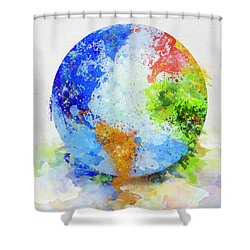 Globe Painting Shower Curtain by Setsiri Silapasuwanchai