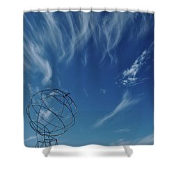 Globe Symbol View  On Sky Background In Norway Shower Curtain by Tamara Sushko