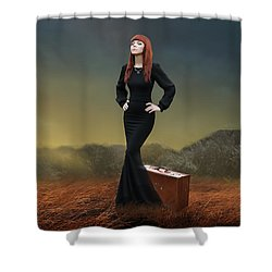 Shower Curtain featuring the mixed media Going Home by Marvin Blaine