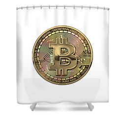Gold Bitcoin Effigy Over White Leather Shower Curtain