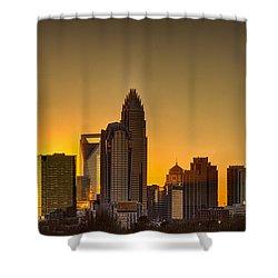 Golden Charlotte Skyline Shower Curtain