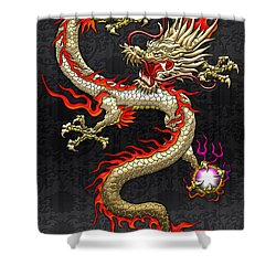 Golden Chinese Dragon Fucanglong  Shower Curtain