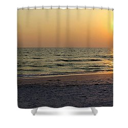Golden Setting Sun Shower Curtain by Angela Rath