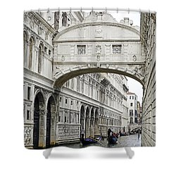 Gondolas Going Under The Bridge Of Sighs In Venice Italy Shower Curtain