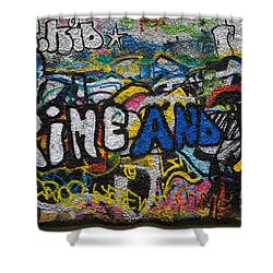 Grafitti On The U2 Wall, Windmill Lane Shower Curtain by Panoramic Images
