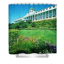 Grand Hotel From Tea Garden Shower Curtain