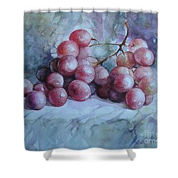 Shower Curtain featuring the painting Grapes... by Elena Oleniuc