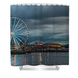 Great Wheel Shower Curtain by Jerry Cahill