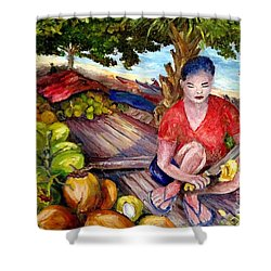 Green Coconut Cafe. Shower Curtain