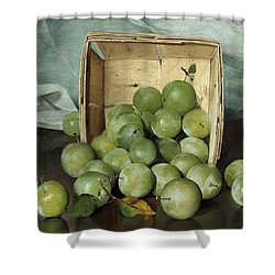 Green Plums Shower Curtain