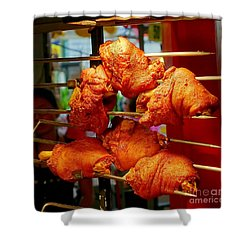 Grilled Pork Knuckles On A Spit Shower Curtain by Yali Shi