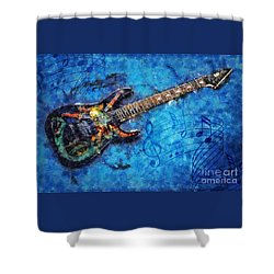 Shower Curtain featuring the digital art Guitar Love by Ian Mitchell