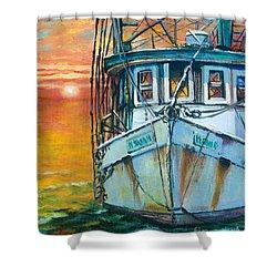 Gulf Coast Shrimper Shower Curtain by Dianne Parks