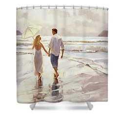 Shower Curtain featuring the painting Hand In Hand by Steve Henderson